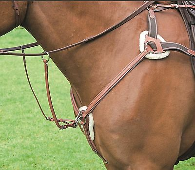 Shires Horse Pony Avignon Five 5 Point Leather Breastplate Running Martingale