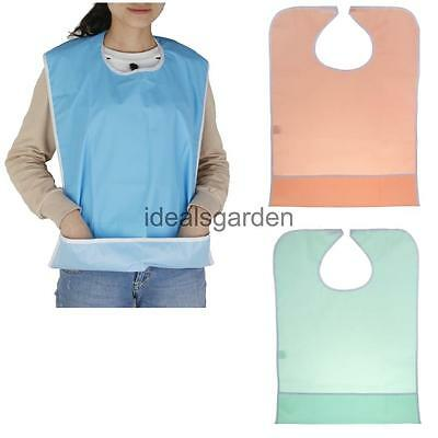 Elder Eating Food Bib Patient Disability Aid Apron Cloth Protector Washable