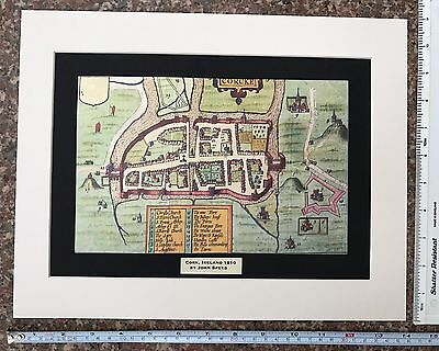 "Mounted Old Tudor town plan, map Cork, Ireland: Speed 1600's 14"" x 11"" Reprint"