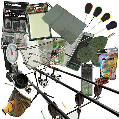 NGT Complete Carp Fishing 2/3 Rod & Reel Set + Alarms Bait Tackle Leads PVA Net