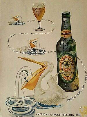 1949 Ballantine Ale green bottle Pelican Purity body flavor ad