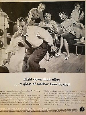 1941 United Brewers right down the bowling alley Lane mellow beer ad