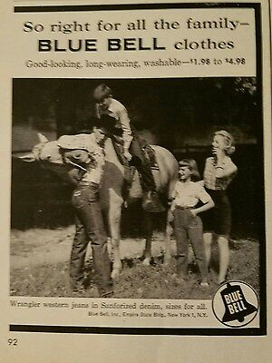 1957 Blue bell clothes jeans Cowboy horse fashion for family ad