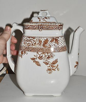Antique English Brown Transferware Coffee Tea Pot Melbourne Challinor Co England