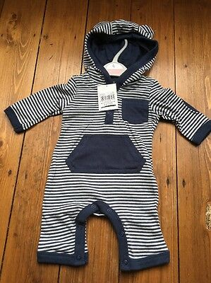 Boys Navy Blue Striped Romper Suit Baby grow Playsuit Cotton