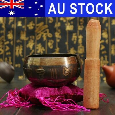 AU Hammered Singing Bowl Cushion Stick Tibetan Buddhism Chakra Meditation Yoga