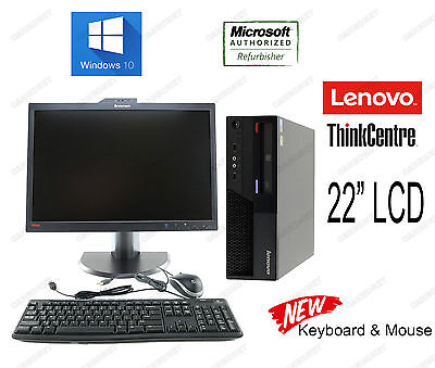 "Lenovo M58P 6137 3.0Ghz 8G 1TB DVDRW Win10Pro NewKBMouse 22""W LCD Webcam Desktop"