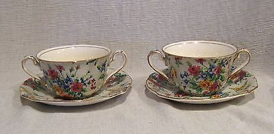 2 Royal Winton Queen Anne Chintz Bouillon Cups and Saucers Wright & Tyndale