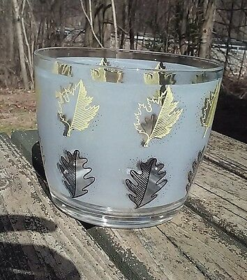 Glass Ice Bucket Frosted Leaves Foliage Design Mid Century Vintage