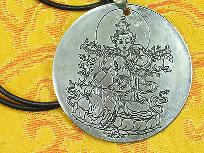 """2"""" Etched Tibetan Buddhist Beloved Green Tara Pendant With Leather Necklace New"""