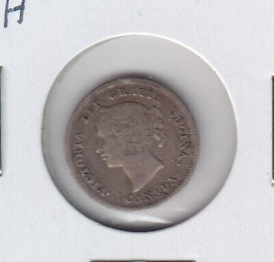 1880H Canadian Five Cents Silver Coin