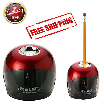 Pencil Sharpener Electric School Office Automatic Battery Powered Red