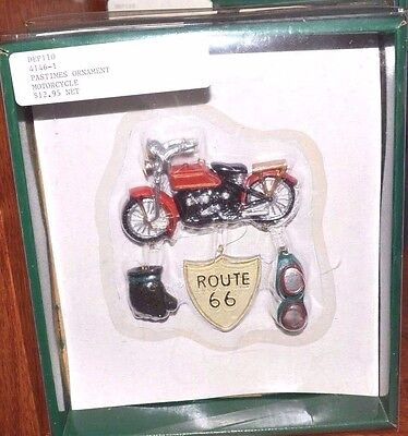 NEW Department 56 Motorcycle Ornament Set 56.41462 Goggles Gloves RARE Route 66