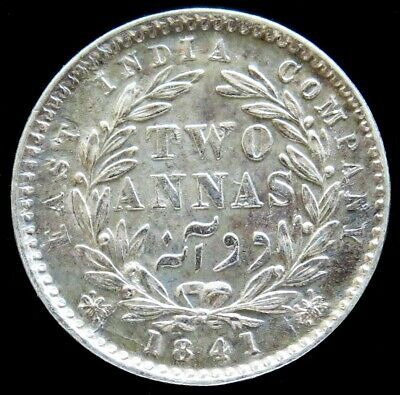 1841-C Silver British East India Company 2 Annas Queen Victoria Coin Unc.