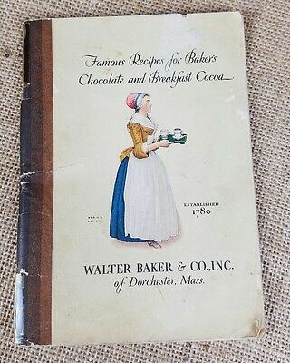Vintage 1928 Famous Recipes For Baker's Chocolate and Breakfast Cocoa booklet