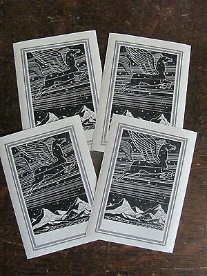 Group of 4 Rockwell Kent Pegasus Book Plate Antioch Bookplate Co. - unused