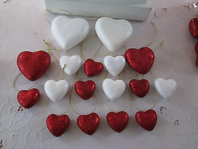 Pkg of 17- Assorted Size Red White Glitter Heart Valentines Day Ornaments,NEW