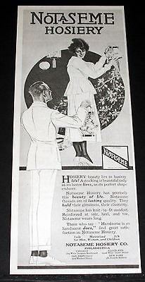 1919 Old Magazine Print Ad, Notaseme Hosiery, Beauty Of Life & Lasting Quality!