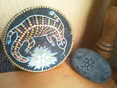 Aboriginal hand painted dot paint art work & tranquility stone- 2 items