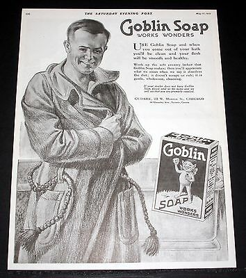 1919 Old Magazine Print Ad, Goblin Soap Works Wonders, Smooth & Healthy, Art!