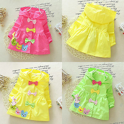 Toddler Baby Girl Clothes Bow Hooded Trench Coat Wind Jacket Kids Outwear 6-24M