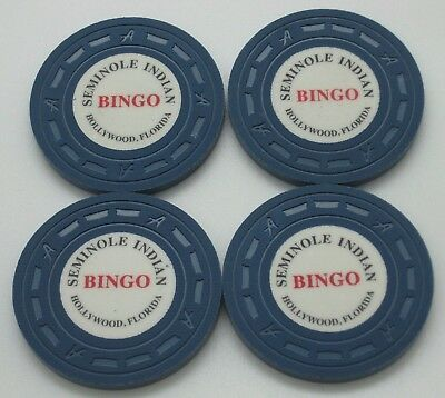 "Set of 4 Seminole Indian Bingo Casino Chips Hollywood FL ""A"" Mold FREE SHIPPING"