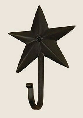 "Star Wall Hook in Flat Black Wrought Iron, 4"" Long, Dimensional Star"