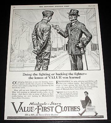 1919 Old Magazine Print Ad, Michaels-Stern Clothes, Post Wwi War Fashions!