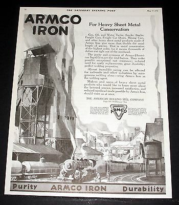 1919 Old Magazine Print Ad, Armco Iron, For Heavy Sheet Metal Conservation, Art!