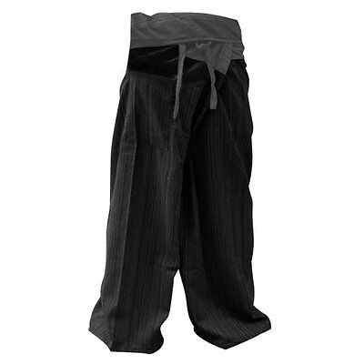 2 Tone Thai Fisherman Pants Yoga Trousers Free Size Cotton Gray and Charcoal,