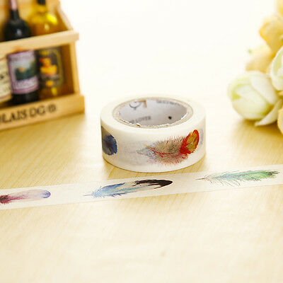 Colourful Feather Paper Washi Tape Masking Adhesive Roll Decor Card Craft
