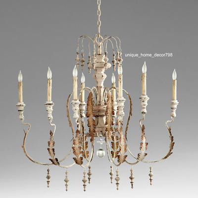 Rustic Tuscan Acanthus Chandelier French Country Cottage Chic 8-Light Iron Wood