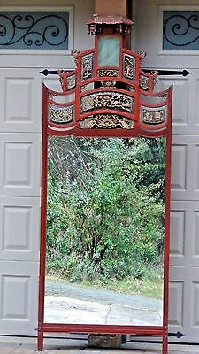 "IMPRESSIVE ANTIQUE 19c  ROSEWOOD CHINESE CARVED TEMPLE MIRROR 89""x34"" ARCHED TOP"