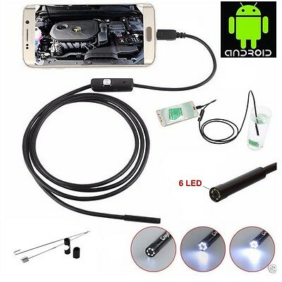 6LED 7mm Android Endoscope Waterproof Snake Borescope USB Inspection Camera Lot