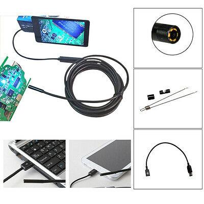 3.5/5M 7mm Android Endoscope Waterproof Borescope USB Inspection Camera 6LED Lot