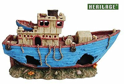 Heritage Ws025B Aquarium Fish Tank Large Fishing Trawler Boat Wreck Ornament Han