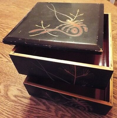 Jewelry / Trinket Box Vintage Antique Japanese 3 Tier Stacked Lacquered Square