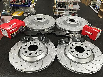 Vw Golf R32 Mk5 Brake Disc Cross Drilled Grooved Brembo Brake Pad Front Rear