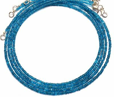 Natural Gem Super Quality Neon Apatite 2-3MM Smooth Rondelle Beads Necklace 17""