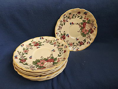 Vintage Antique Royal Doulton Wildflower Cream Soup Saucers Only Set of 8