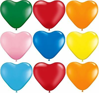 """100 Quality 10"""" ❤ Heart Shape Helium Or Air Latex Balloons-Party-All Occasions"""