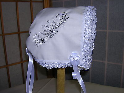 Baby Bonnet/Brides Magic Handkerchief Handmade Keepsake (Butterfly & Roses)