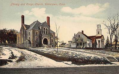 WATERTOWN, CT ~ LIBRARY & CONG. CHURCH ~ AUGUST SCHMELZER, PUB ~ c. 1910s
