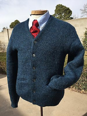 Vintage 60's Fuzzy MOHAIR Wool Blue Cardigan Sweater Columbia Knitwear Medium