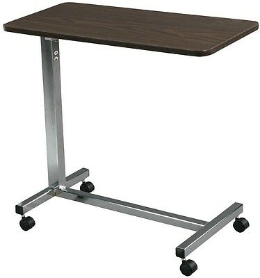 Drive Medical Non Tilt Top Overbed Table Hospital Rolling Wooden Chrome