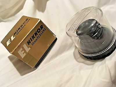 Vintage El Nikkor Minty 50MM F/2.8 Enlarging Lens Cap cover original box case A+
