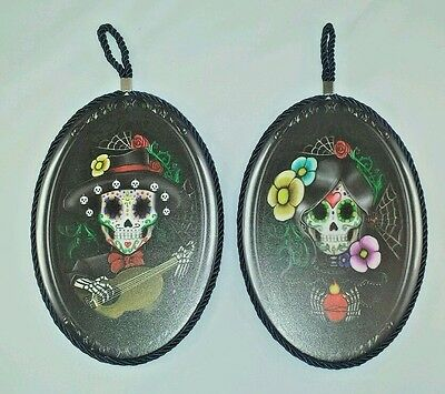 "9.5"" Height Set of Two Day of The Dead Skeleton Mariachi Couple Wall Plaque"
