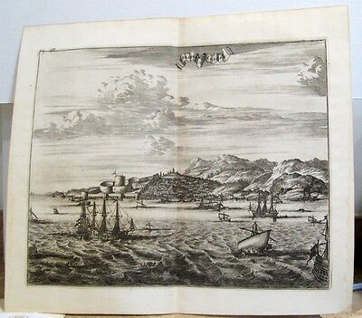 1703 Large Engraved View of Sestos Turkey Olfert Dapper