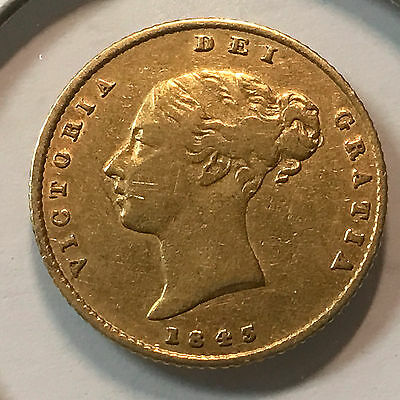 1843 Great Britain Gold Half Sovereign Low Mintage And Scarce