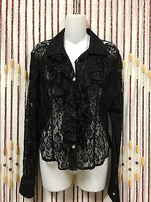 VTG 70's 80's  Ruffle Bib Lace Top Witchy Goth M